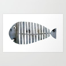 Grey Fishbone Art Print