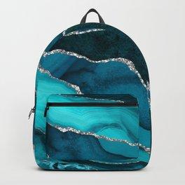 Ocean Waves Marble Teal Backpack
