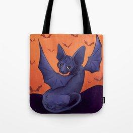 Black Bat Sphynx Kitten - Halloween Art Tote Bag