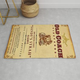 Vintage Old Coach Vineyards Reserve Wine Bottle Label Print Rug