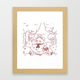 The Adventures of Bear and Baby Bear-Picking Berries Framed Art Print