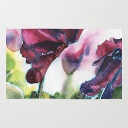 Cyclamen watercolor, pink flowers Rug