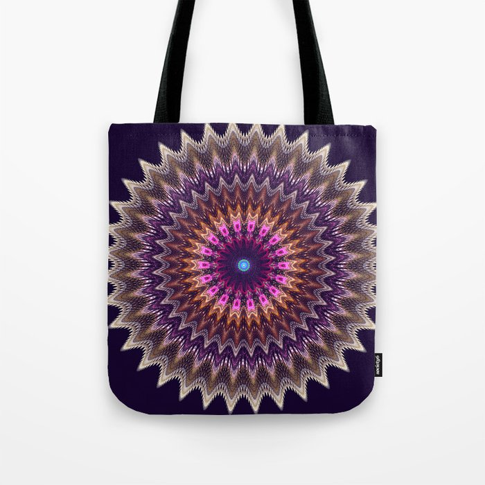 Groovy starry mandala with tribal patterns Tote Bag