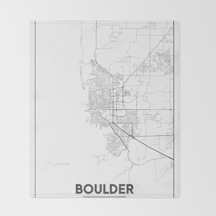 Minimal City Maps Map Of Boulder Colorado United States Throw