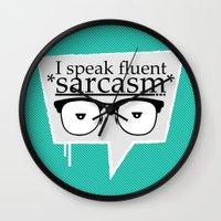 sarcasm Wall Clocks featuring Sarcasm by Daniac Design