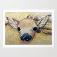 bambi Art Prints featuring Bambi by Erin Schamberger
