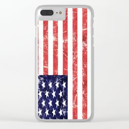 American Grunge Flag Clear iPhone Case