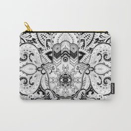 Hamsa Hand -Hand of Fatima grayscale Carry-All Pouch