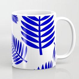 Blue Leaves Ferns Pattern Coffee Mug