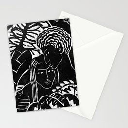 Couple Embracing - Vintage Block Print Stationery Cards
