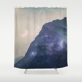 Lost in Space - Mountains with mist and stars Shower Curtain