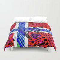 norway Duvet Covers featuring circuit board Norway (Flag) by seb mcnulty