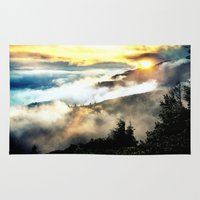 mountains Area & Throw Rugs featuring Sunrise mountains by 2sweet4words Designs