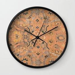 Persian Motif IV // 17th Century Ornate Rose Gold Silver Royal Blue Yellow Flowery Accent Rug Patter Wall Clock
