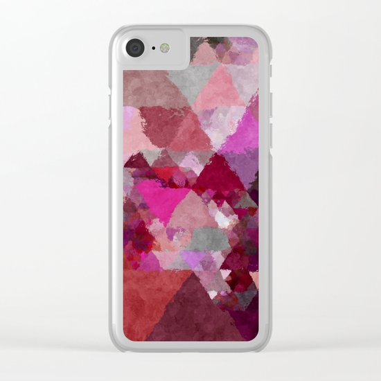 When the night comes- Dark red purple triangle pattern- Watercolor Illustration Clear iPhone Case