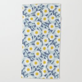 daisy flower white blue navy gold watercolor painting bohemian gardener gift unique floral pattern Beach Towel