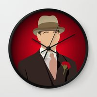 boardwalk empire Wall Clocks featuring Nucky Thompson - Boardwalk Empire by Tom Storrer