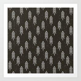 Pine Trees . Charcoal Art Print