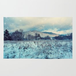 Snowy mountain landscape Rug