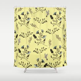 Butter Yellow and Bluebells and Bluebirds Floral Pattern Flowers in Blue and Bark Brown Shower Curtain