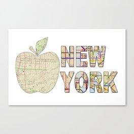 Hipster cool New York City Big Apple kitschy subway map wanderlust eighties travel logo print Canvas Print