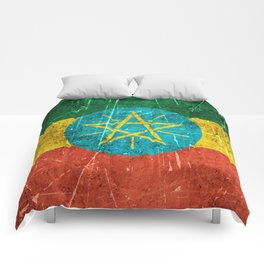 Vintage Aged and Scratched Ethiopian Flag Comforters