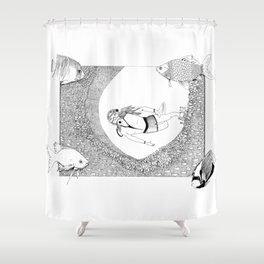 On the depth of the ocean - Ink artwork Shower Curtain