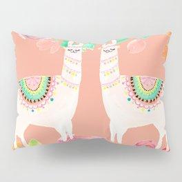 Llama in a floral frame Pillow Sham