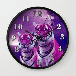 Purple Tiger Wall Clock