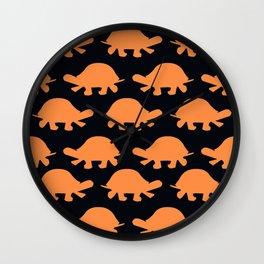 Turtles Orange Wall Clock