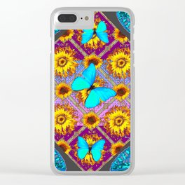 WESTERN STYLE TURQUOISE BUTTERFLIES FLORAL ART Clear iPhone Case