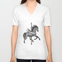 carousel V-neck T-shirts featuring Carousel by Rescue & Ramona