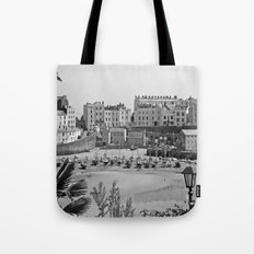 Tenby Harbour. Black+White. Reflection. Tote Bag