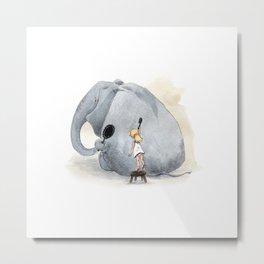 Brushing Elephant Metal Print