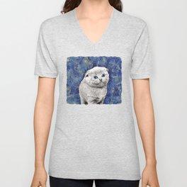 Cat Graphic Cat Gogh Sad Cat Van Goh Cat Starry Night Cat Clipart Unisex V-Neck