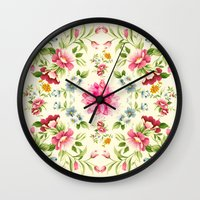 folk Wall Clocks featuring folk floral by clemm