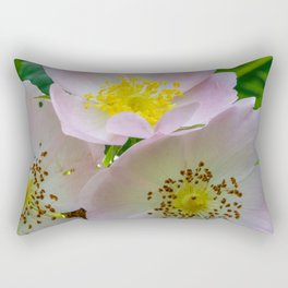 Group of flowers with light petals and yellow and brown pistils Rectangular Pillow