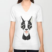 french bulldog V-neck T-shirts featuring French Bulldog by Freeminds