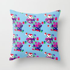 Kitty Cat Deco Pattern Throw Pillow