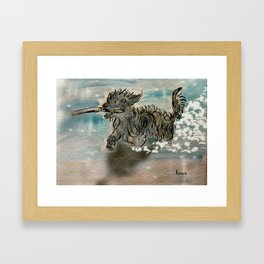 My dog fetching a stick Framed Art Print