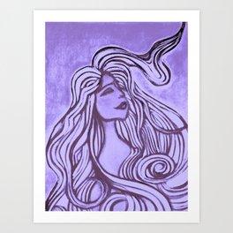 Purple Lotus Turtle Art Print