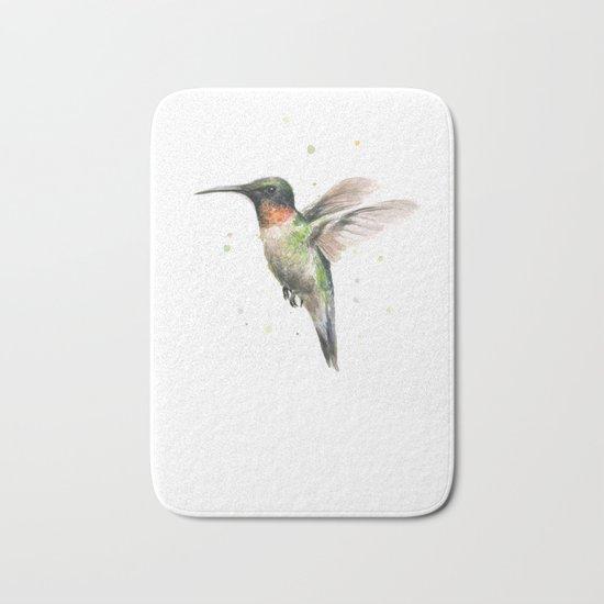 Hummingbird Watercolor Bird Animal Ruby Throated Bath Mat