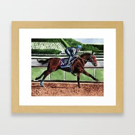 American Pharoah Thoroughbred Horse Triple Crown Winner Framed Art Print