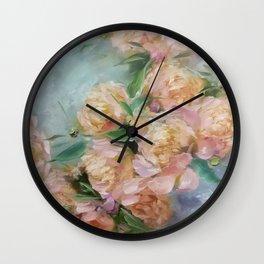 The Sunny Peonies Wall Clock