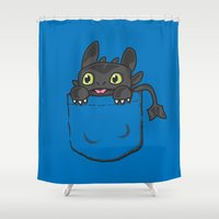 hiccup Shower Curtains featuring Pocket Toothless by Tabner's