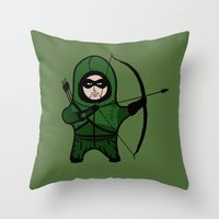 green arrow Throw Pillows featuring Green Arrow by Yiannis