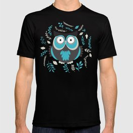 BLUE OWL AND LEAVES T-shirt
