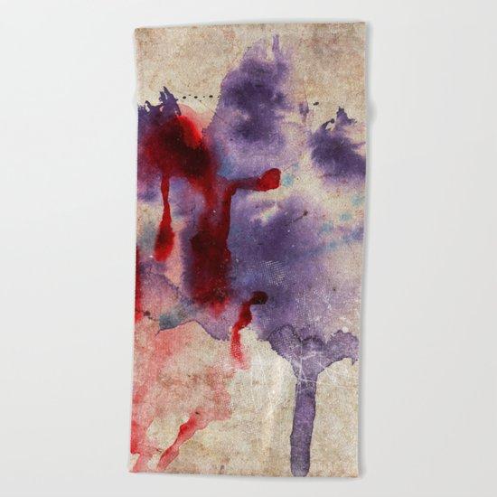 Purple Color Splash Beach Towel