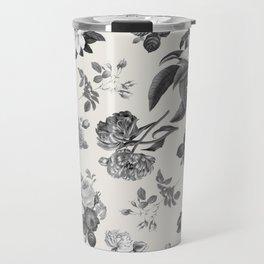 Vintage flowers on cream blackground Travel Mug