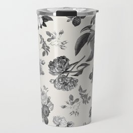 Vintage flowers on cream blackground Travel Mug